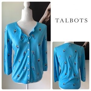Talbots Toucan Bird Embroidered Cardigan Sweater